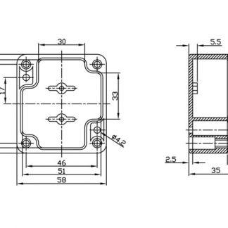 Caixa Estanque ABS Cinza 64x58x35mm
