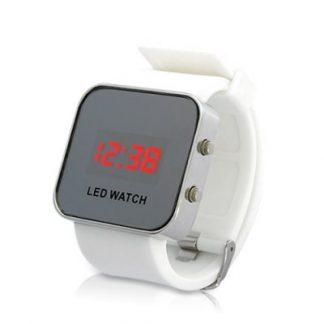 Relógio Espelho LED c/ display digital e bracelete de borracha (branco)
