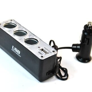 Alimentador Auto Triplo DC 12-24V c/ Porta USB