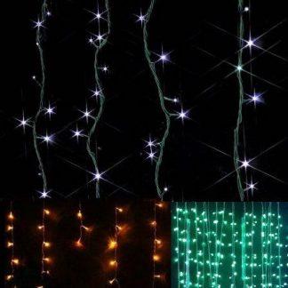 Cortina Luminosa de LEDs c/ Cabo de PVC Verde 800 LEDs Branco Quente - Dimensões 2 x 7 m (L x A) | Extensível máx. 2 | Consumo: 73W